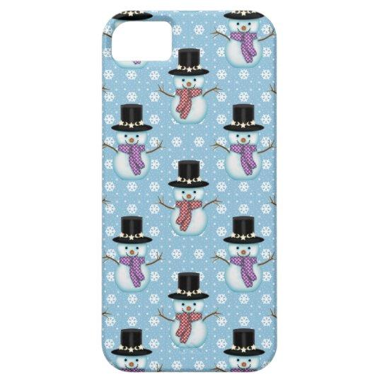 Cute Snowmen on Pale Blue Pattern iPhone SE/5/5s Case