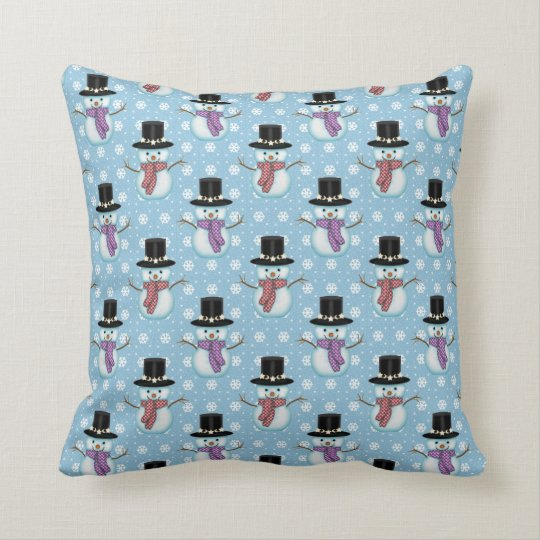 Cute Snowmen on Pale Blue Pattern Throw Pillow
