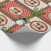 Cute Snowmen Stars & Berries w/Name Christmas Wrapping Paper