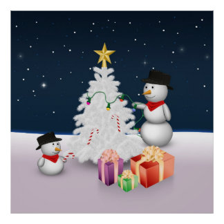 Cute Snowmen with Christmas Tree - Poster