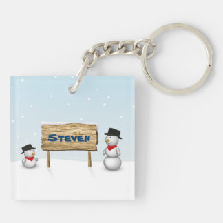 Cute Snowmen with Name Wood Sign Acrylic Keychain