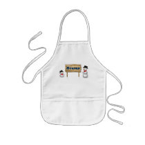 Cute Snowmen with Name Wood Sign - Apron