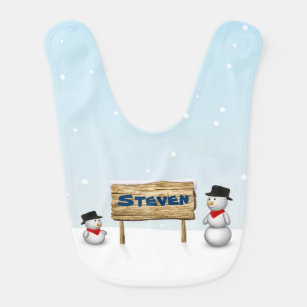 Cute Snowmen with Name Wood Sign - Baby Bib