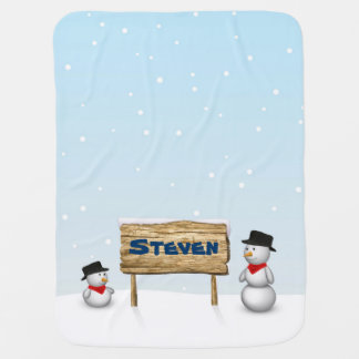 Cute Snowmen with Name Wood Sign - Baby Blanket