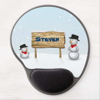 Cute Snowmen with Name Wood Sign - Gel Mousepad