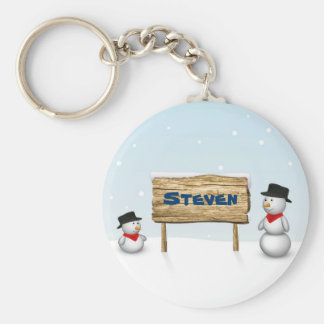 Cute Snowmen with Name Wood Sign - Keychain