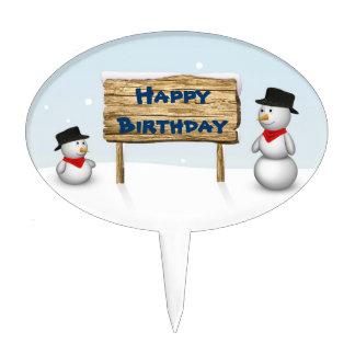 Cute Snowmen with Sign - Happy Birthday Cakepick
