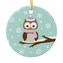 Cute Snowy Holiday Owl Ceramic Ornament