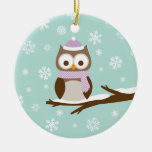 Cute Snowy Holiday Owl Double-Sided Ceramic Round Christmas Ornament