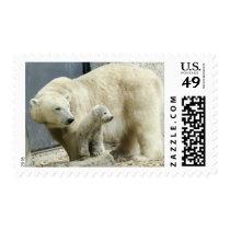 Cute Snowy Polar Bear and Cub Arctic Animal Stamp