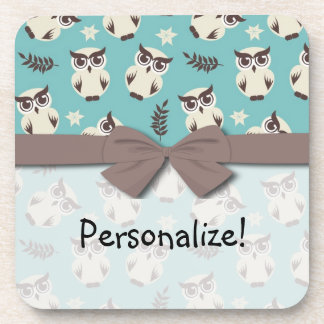 cute snowy white owls pattern drink coaster