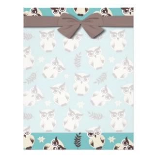 cute snowy white owls pattern flyer