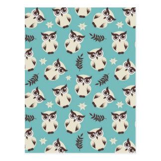 cute snowy white owls pattern postcard