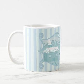 Cute snowy winter mountain cottage scenery custom coffee mug
