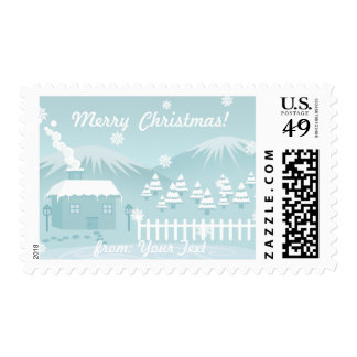 Cute snowy winter mountain cottage scenery custom postage