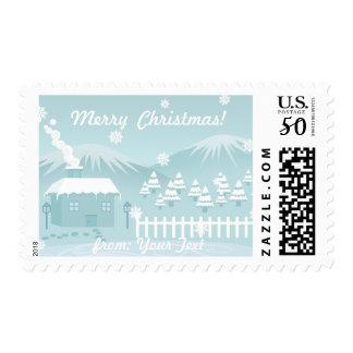 Cute snowy winter mountain cottage scenery custom postage