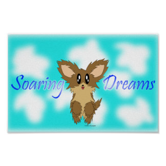 Cute Soaring Dreams Scuffy Puppy Dog Poster