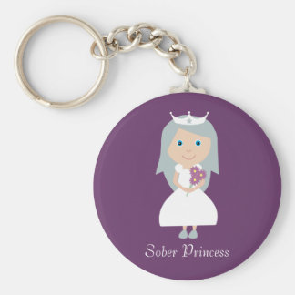 Cute Sober Princess Cartoon Character Purple Keychain