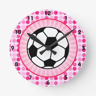 Cute Soccer Ball Round Clocks