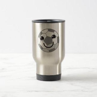 Cute Soccer ball football with a face Travel Mug