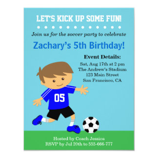 Cute Soccer Boy, Football Themed Birthday Party 4.25x5.5 Paper Invitation Card