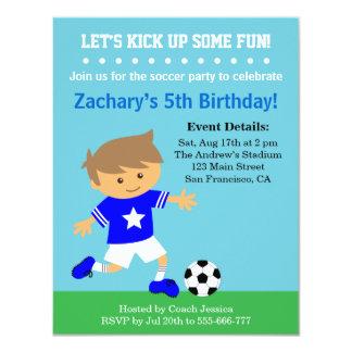 Cute Soccer Boy, Football Themed Birthday Party Card