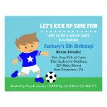 Cute Soccer Boy, Football Themed Birthday Party Custom Invitations