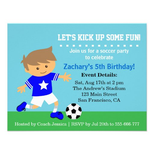 Cute Soccer Boy Football Themed Birthday Party Custom Invitations