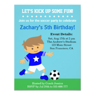 "Cute Soccer Boy, Football Themed Birthday Party 4.25"" X 5.5"" Invitation Card"