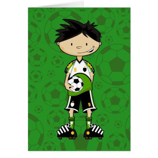 Cute Soccer Boy Holding Ball Card