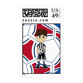 Cute Soccer Boy Stamp