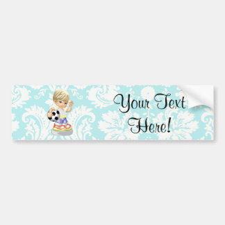Cute Soccer; Damask Car Bumper Sticker