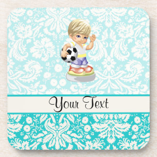 Cute Soccer; Damask Drink Coaster