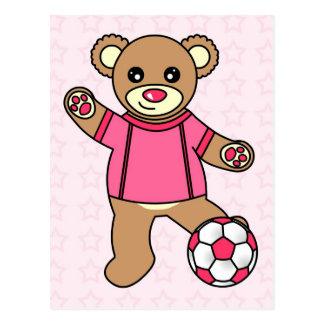 Cute Soccer Girl Teddy Bear - Pink Postcard