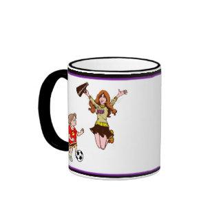 Cute Soccer Mom Logo & 1st Place Ribbon - Daughter Ringer Mug