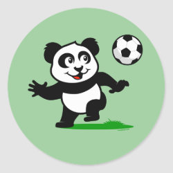 Round Sticker with Cute Soccer Panda design
