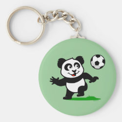 Cute Soccer Panda Basic Button Keychain