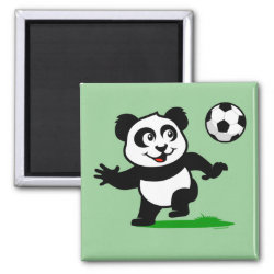 Square Magnet with Cute Soccer Panda design