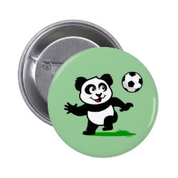 Round Button with Cute Soccer Panda design