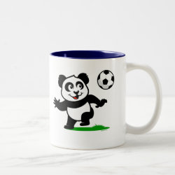 Cute Soccer Panda Two-Tone Mug