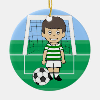 Cute Soccer Player Green White hoops Double-Sided Ceramic Round Christmas Ornament