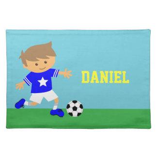 Cute Soccer Star Boy, Football Theme Placemat