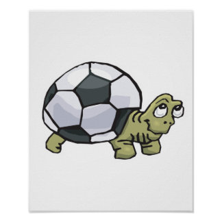 cute soccer turtle poster