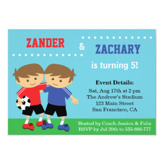 Cute Soccer Twins, Soccer Kids Birthday Party Card