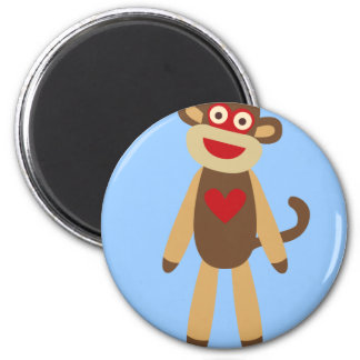 Cute Sock Monkey 2 Inch Round Magnet