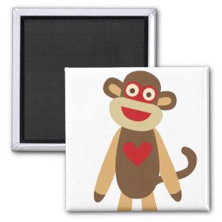 Cute Sock Monkey 2 Inch Square Magnet