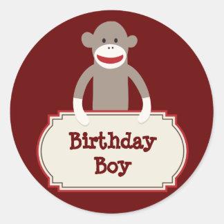 Cute Sock Monkey Birthday Boy Stickers