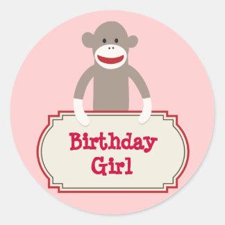 Cute Sock Monkey Birthday Girl Stickers