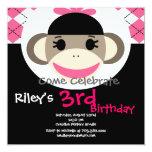Cute Sock Monkey Birthday Invitations Pink Argyle