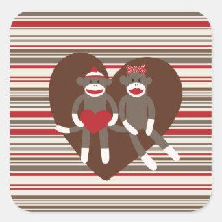 Cute Sock Monkey Couple in Love Sticker